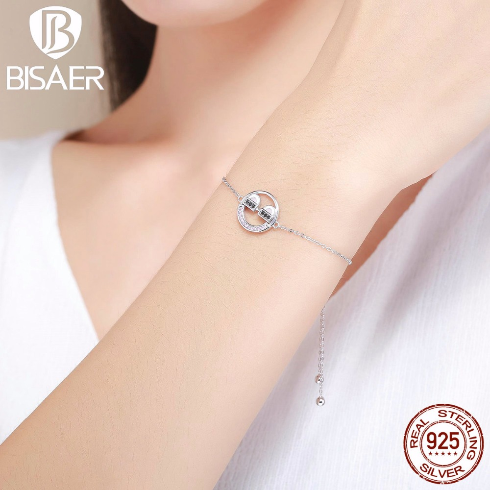 100% 925 Sterling Silver You Are So Cool Emoji Round Circle Chain Link Strand Bracelets for Women Authentic Original Jewelry