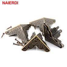 30PCS NAIERDI 3.6x2.4cm Luggage Case Box Corners Brackets Decorative Corner For Furniture Decorative Triangle Rattan Carved(China)