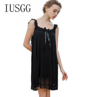 Women Sleeping Wear Summer Sexy Lingerie Lace Solid Sleepwear Spaghetti Strap Camis Top Sleeveless Solid Middle Nightgowns