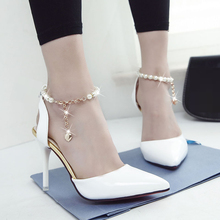 Light The new Spring and Summer 2016 Shallow Mouth Beading Women Shoe Pointed Stilettos Classic OL Occupation Shoes