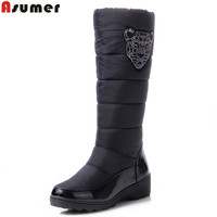 AISIMI 2015 New Cotton Fashion Waterproof Snow Boots Women S Knee High Boots Flat Winter Boots