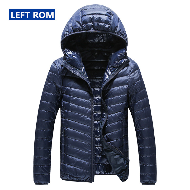 2018 New High-end Warm Winter Fashion for Men Feather Hooded Down Jacket Pure Color Boutique Mens Feather Down Coat Thin Light