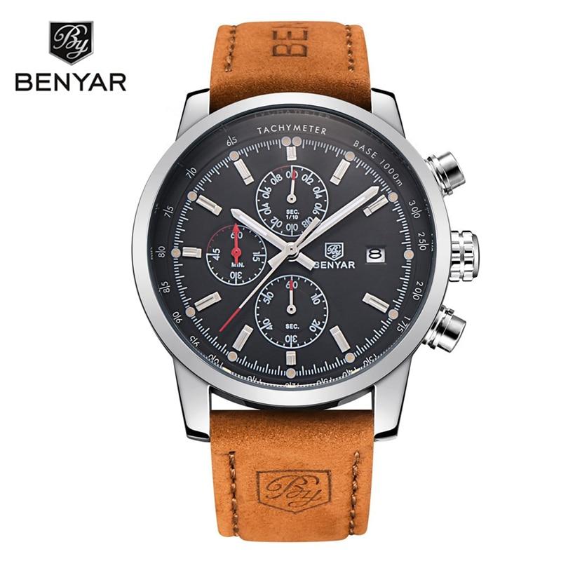 BENYAR Marke Uhren Männer Mode Wasserdicht Military Chronograph Sport Quarz Armbanduhr Leder Uhr Saat Relogio Masculino