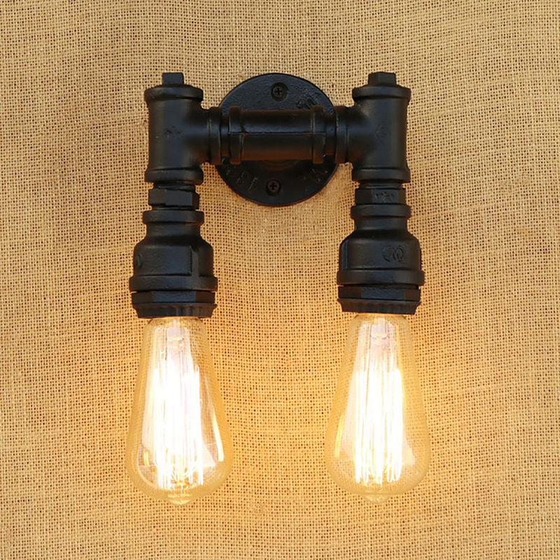 ФОТО Retro E27 Loft Industrial 2 lights metal wall lamp rust Water pipe sconce lights for living room bedroom restaurant bar