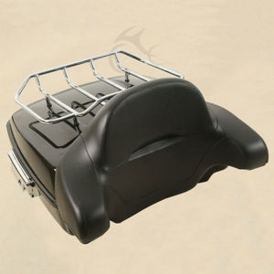 Image 3 - Chopped Pack Trunk W/ Latch Luggage Rack + Backrest For Harley Touring Road King Street Electra Glide FLHR FLHX FLTR 14 19