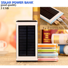 2016 Limited Venta Cargador Portátil Banco de la Energía Solar Portátil 3 Usb 2 Led de Batería Externa Powerbank Copia De Seguridad para Teléfonos Móviles