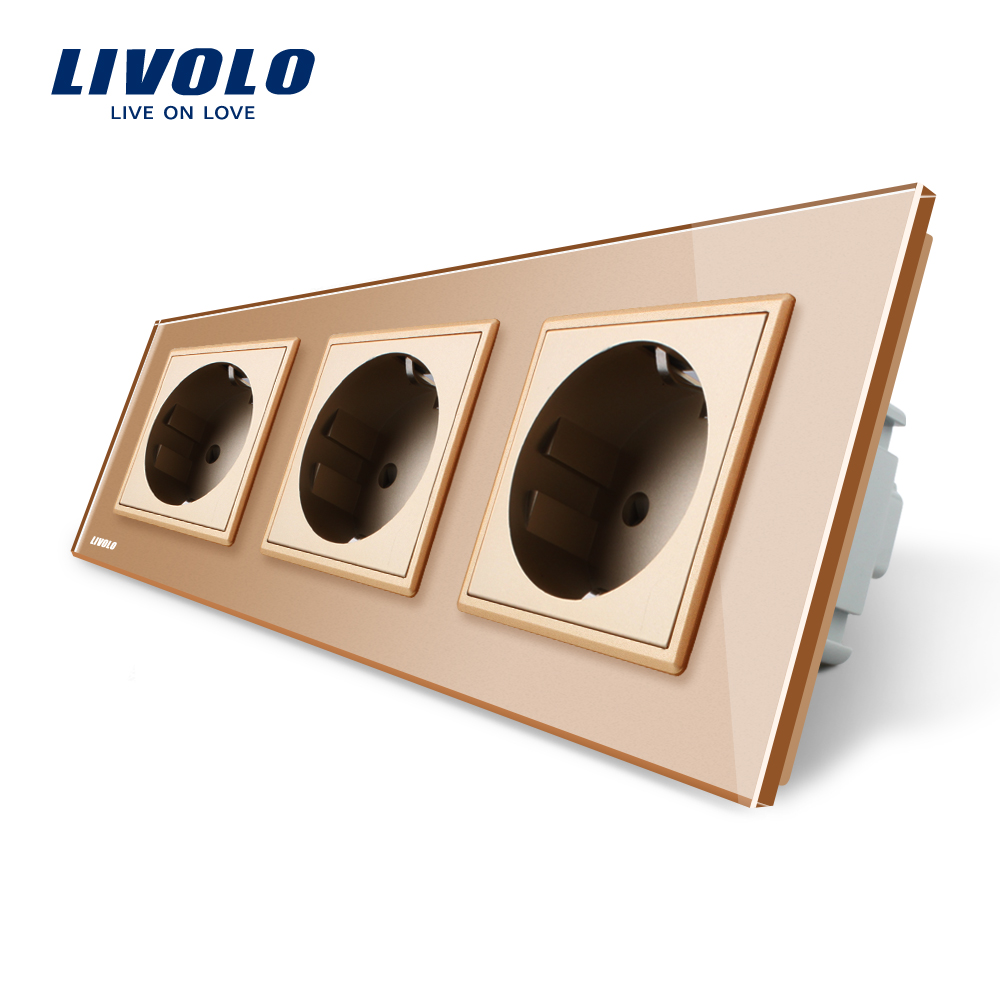 Livolo EU Standard Socket, Golden Crystal Toughened Glass Outlet Panel, Triple Wall Power Sockets Without Plug,VL-C7C3EU-13 atlantic brand double tel socket luxury wall telephone outlet acrylic crystal mirror panel electrical jack