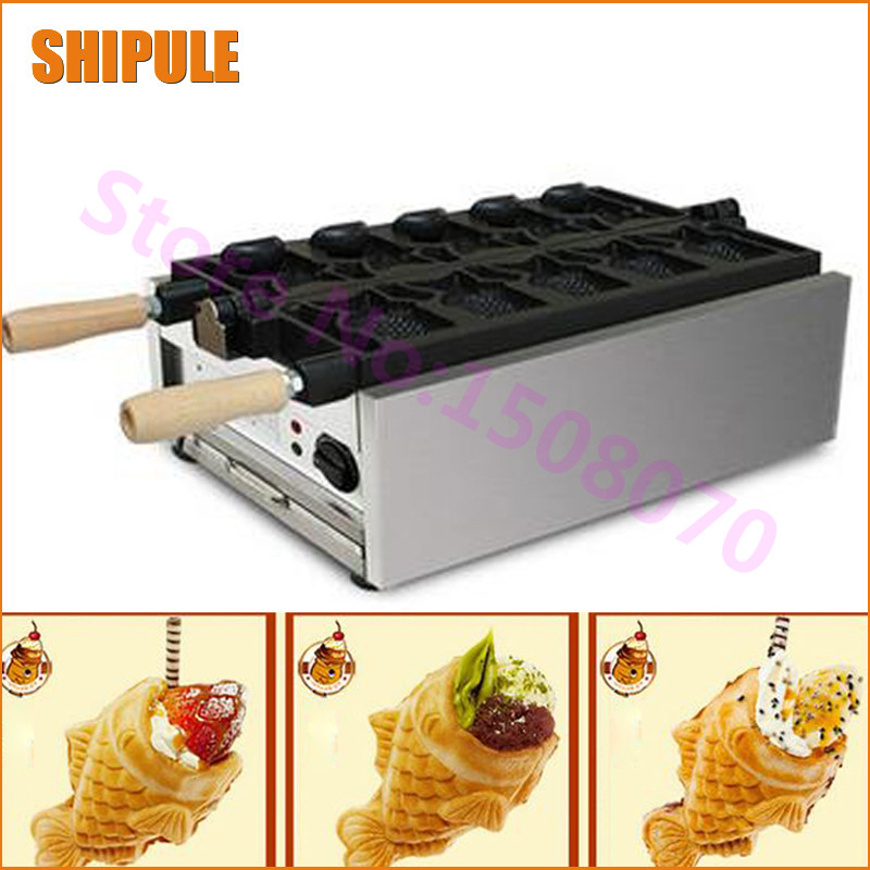 SHIPULE High efficiency multifunctional electric ice cream Taiyaki machine open mouth fish waffle taiyaki maker price edtid new high quality small commercial ice machine household ice machine tea milk shop