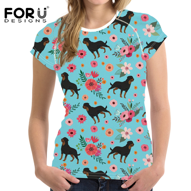 Forudesigns T Shirt Women Rottweiler Dog Portrait Printing Tops