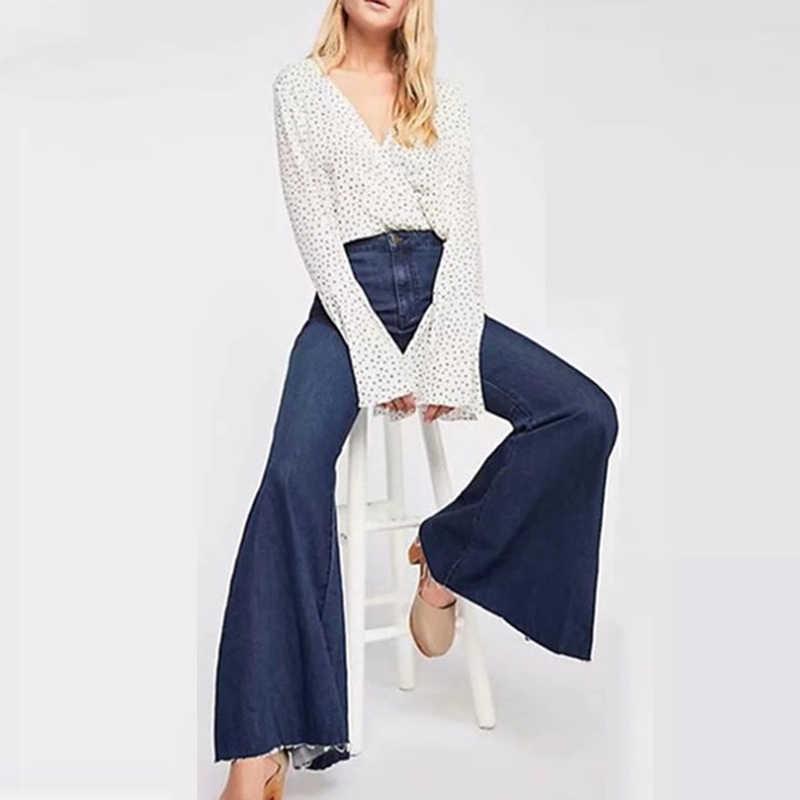 Voile LU femmes Jeans quotidien décontracté pantalons de plein air dames pantalons Slim automne 2019 nouveau femme taille haute Denim Flare pantalon WKN627