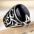 Brand New Hot Fashion Titanium Steel Ring Punk Totem Claw  Black Agate Stone Men Ring Personality Domineering Jewelry