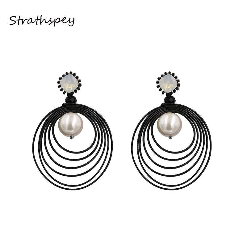 STRATHSPEY Geometric Many Circles Round Earrings for Women Brincos Opal Crystal Pearl Earring Gold Color Party Jewelry Gift