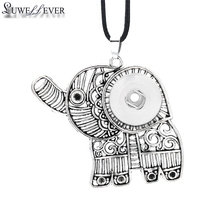 Fashion Interchangeable Flower Elephant Ginger Necklace 010 12mm 18mm Snap Button Pendant Charm Jewelry For Women Gift