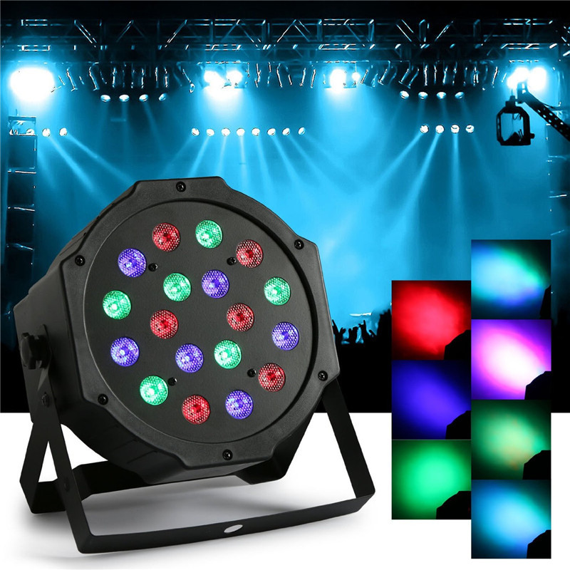 ФОТО Lumiparty 18W 7 Channel RGB Indoor LED Flat Par Light for Stage Lighting KTV DJ Disco Party Stage Effect Rotating Lamp Bulb