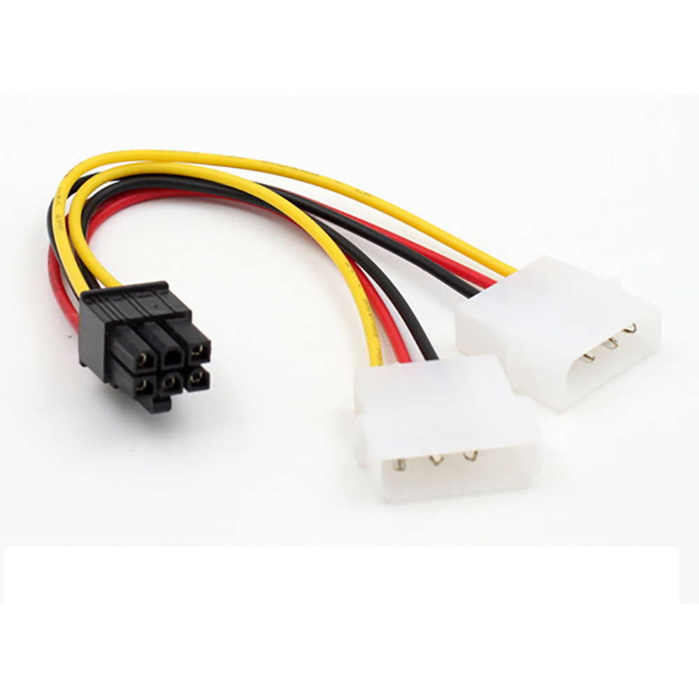 New Molex Power Connectors ATX IDE Molex Power Dual 4 To 6-Pin PCI Express PCIe Video Card Adapter Cable18CM l0914#3