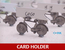 20pcs / lot , Vintage Alloy Metal Bicycle Home Photo holder , Bicycle Shaped Name Card Holder for wedding as place card holder