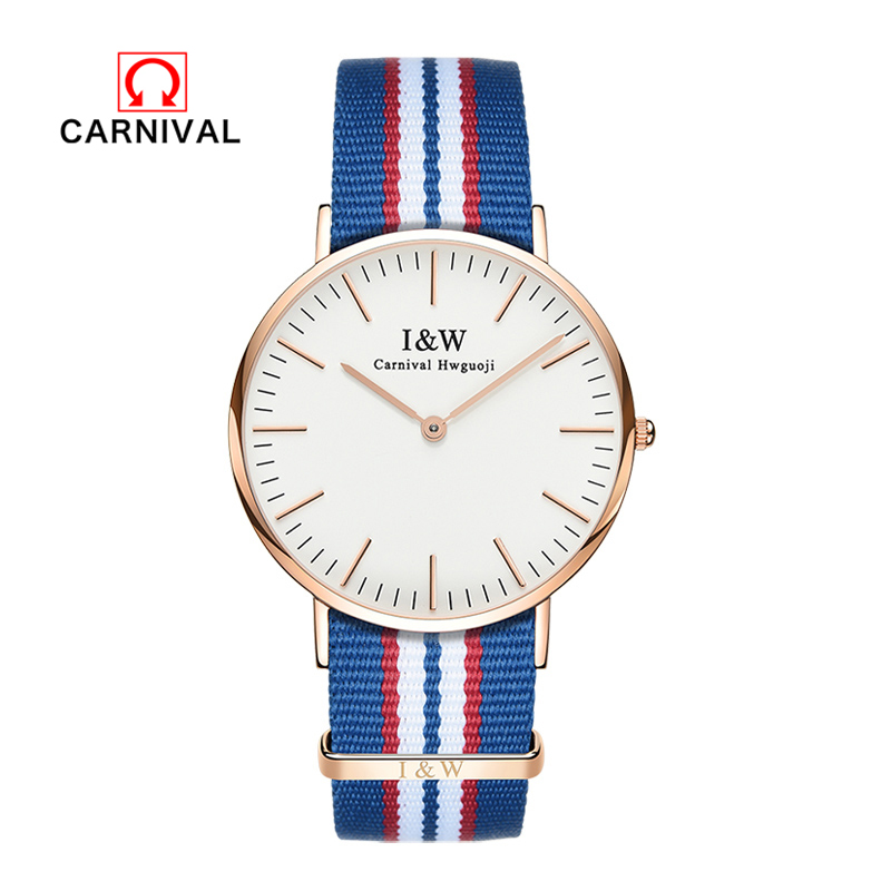 Carnival 2018 new classic brand ladies watch waterproof top brand stainless steel quartz watch blue and red nylon tape watchCarnival 2018 new classic brand ladies watch waterproof top brand stainless steel quartz watch blue and red nylon tape watch