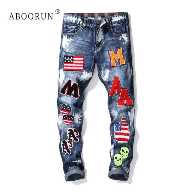 ABOORUN Men's Fashion Skinny Painted Jeans US Flag Letters Embroidery Jeans Brand Jeans Joggers for Male x1802
