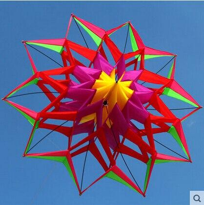 Nouvelle arrivée nouveau Style 3D fleur cerf-volant avec poignée et ligne bonne sortie d'usine volante