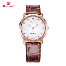 Bestdon WHBD007-1 Moda Dial Redondo Correa Marrón de Cuarzo Reloj de pulsera Impermeable para Los Hombres