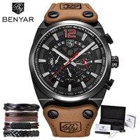BENYAR Army Military Mens Watches Men Brown Top Brand Luxury Waterproof Sports Male Watch Quartz Man Wristwatch xfcs Bracelet