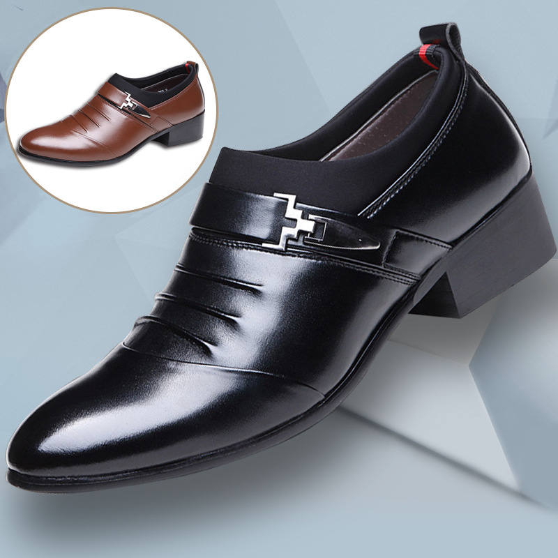 Business Wedding Shoes Pointed Toe Men Dress Shoes Split Leather Oxfords Slip On Formal Shoes for Male