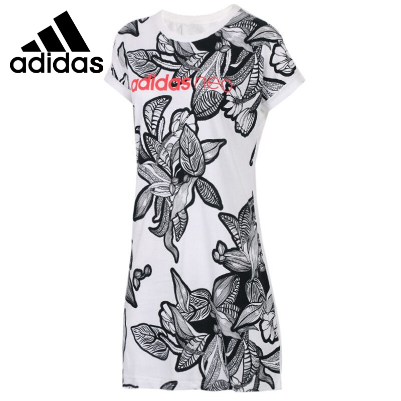 Original New Arrival  Adidas NEO Label Womens W Illustr long T-shirts short sleeve Sportswear  Original New Arrival  Adidas NEO Label Womens W Illustr long T-shirts short sleeve Sportswear