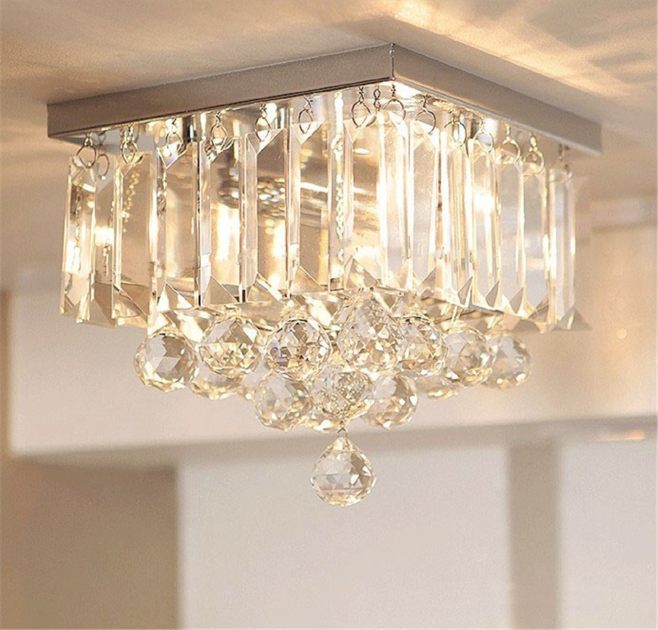 Ceiling light LED Light k9 Crystal Stainless steel base Modern Cylindrical Square Design Bedroom Restaurant Foyer Small size