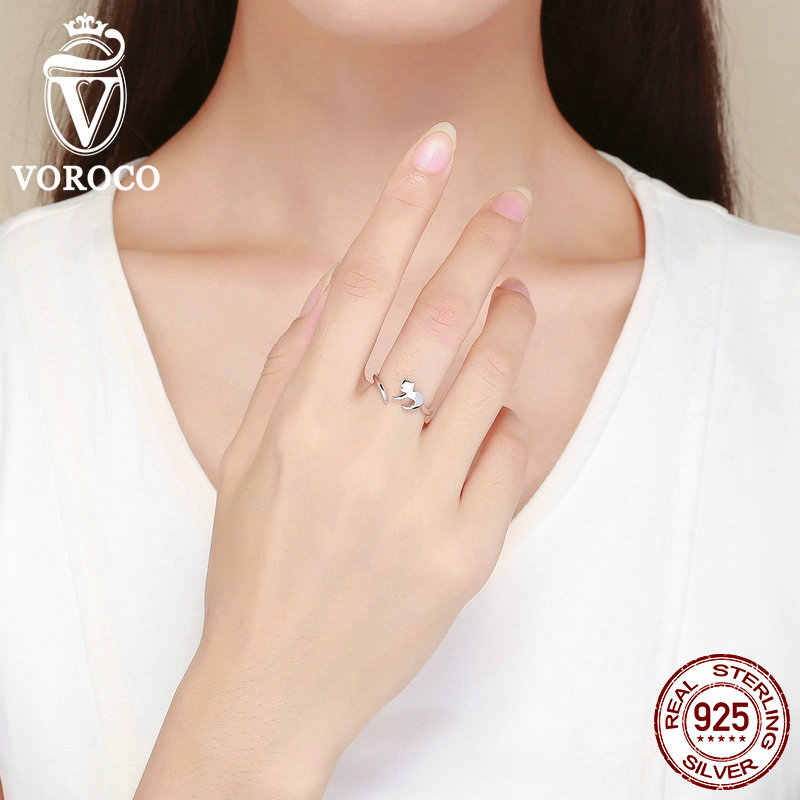 VOROCO วินเทจแท้ 925 เงินสเตอร์ลิงน่ารัก Cat นิ้วมือเปิดแหวนผู้หญิง Lady Minimalism เครื่องประดับ BKR420