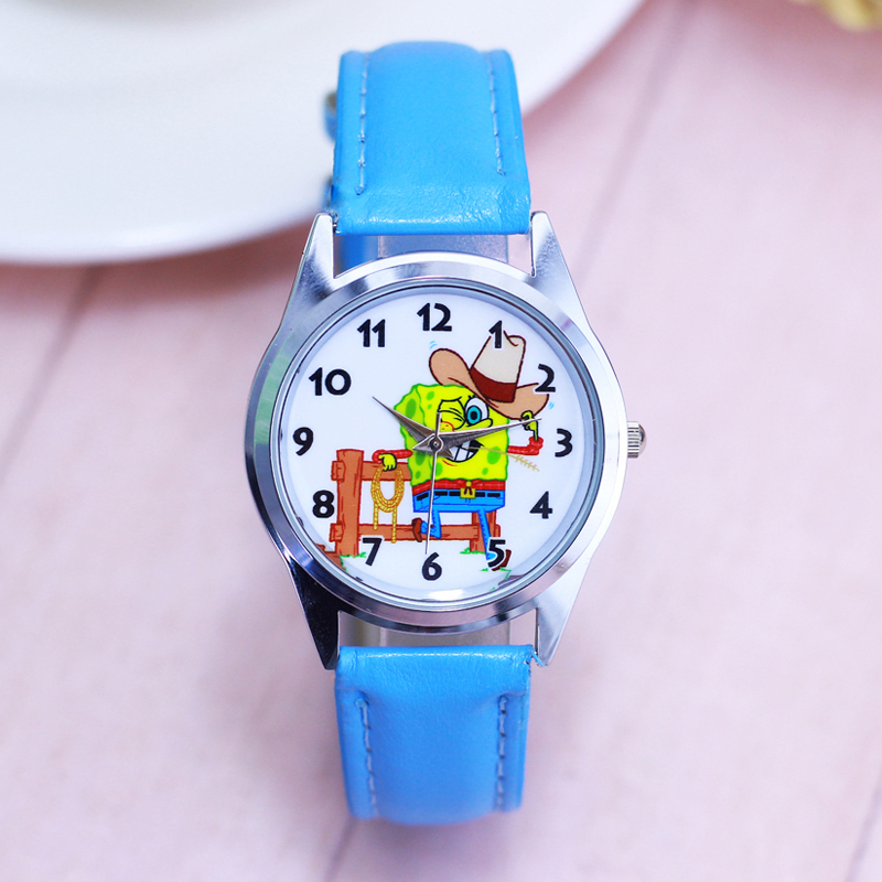 2018 New Children Boys Girls Fashion Cool Cartoon Spongebob Quartz Wrist Watches Students Kids Fashion Leather Strap Watch Watches