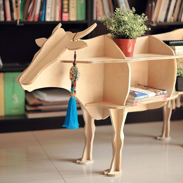 High-end 47 size cow style book shelf bookcase self-build puzzle furniture new high end s size lookback reindeer table wooden home furniture self build puzzle furniture