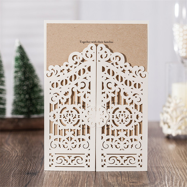 10sets Gate Laser Cut Wedding Invitations Card With Inner Page Luxury Style  Wedding Favors Party Paper