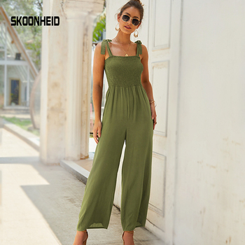 SINGRAIN Summer Solid Strap Ruched Women Jumpsuits Sleeveless Cami Overalls Elastic Large Size Boho Long Pants Chiffon Rompers 1