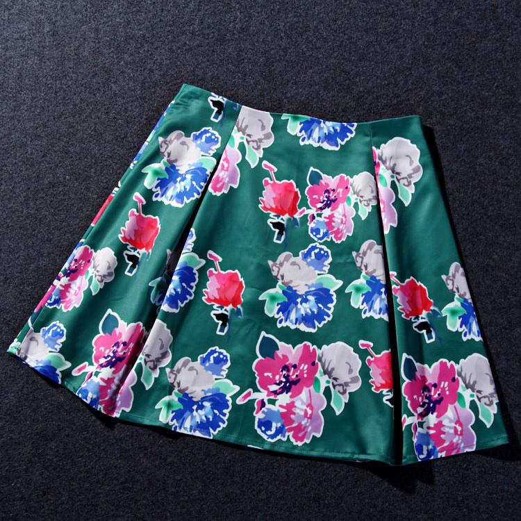 Flower Print Green Skirt White Blouse Suits for Women (11)