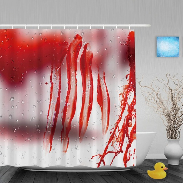 Murder Blood On Glass Bathroom Shower Curtains Halloween Home Decor Red Curtain Waterproof Polyester Fabric
