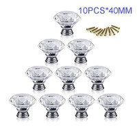 1lot 10pcs 40mm Diamond Crystal Glass Alloy Cabinet Knobs And Handles For Furniture Cupboard Cabinet Drawer