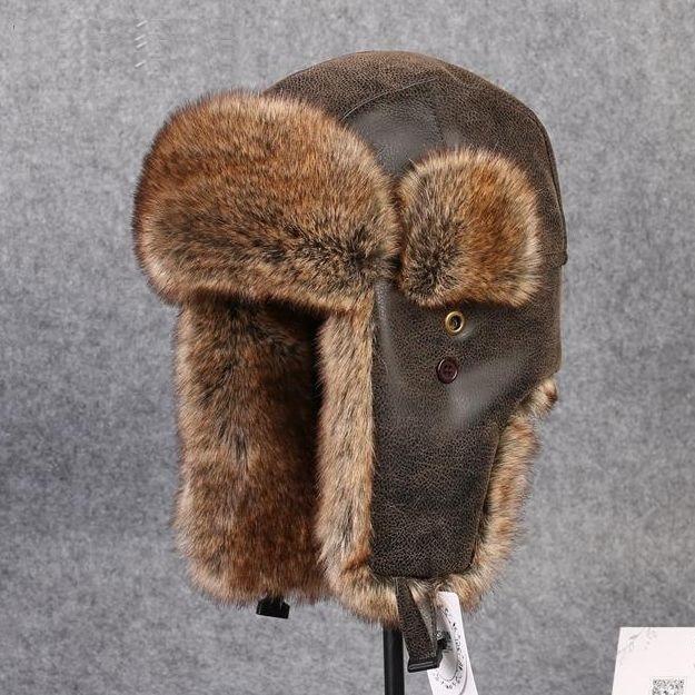 Мужская меховая кожаная шапка для зимы, имитация искусственной кожи с помпоном для защиты ушей, шапки-бомберы, русская ушанка, шапка, женска...