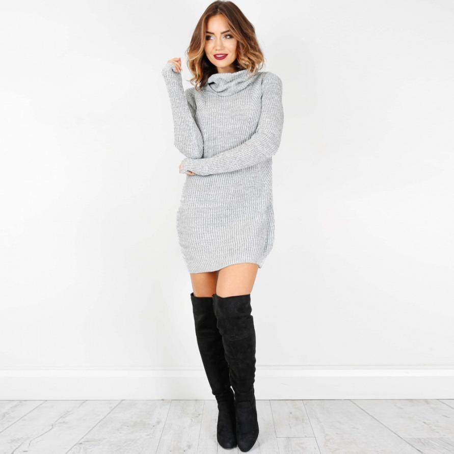 Womens Casual Long Sleeve Sweater Jumper Turtleneck Sweaters Dress Solid long warm sweater winter autumn Robe