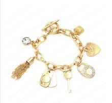 Hot Famous Brand Jewelry Rasta Punk Rock Charm Bracelets For Women Letter Kors Lock Key Pendant Chain Bracelets Bangle Gold Gift