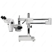 Professional Boom Stereo Microscope–AmScope Supplies 3.35X-90X Professional Boom Stereo Microscope w/ Focusable Eyepieces