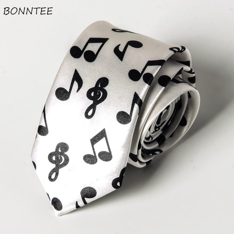 Black White MUSIC NOTES NECK TIE Slim Skinny Unisex necktie USA