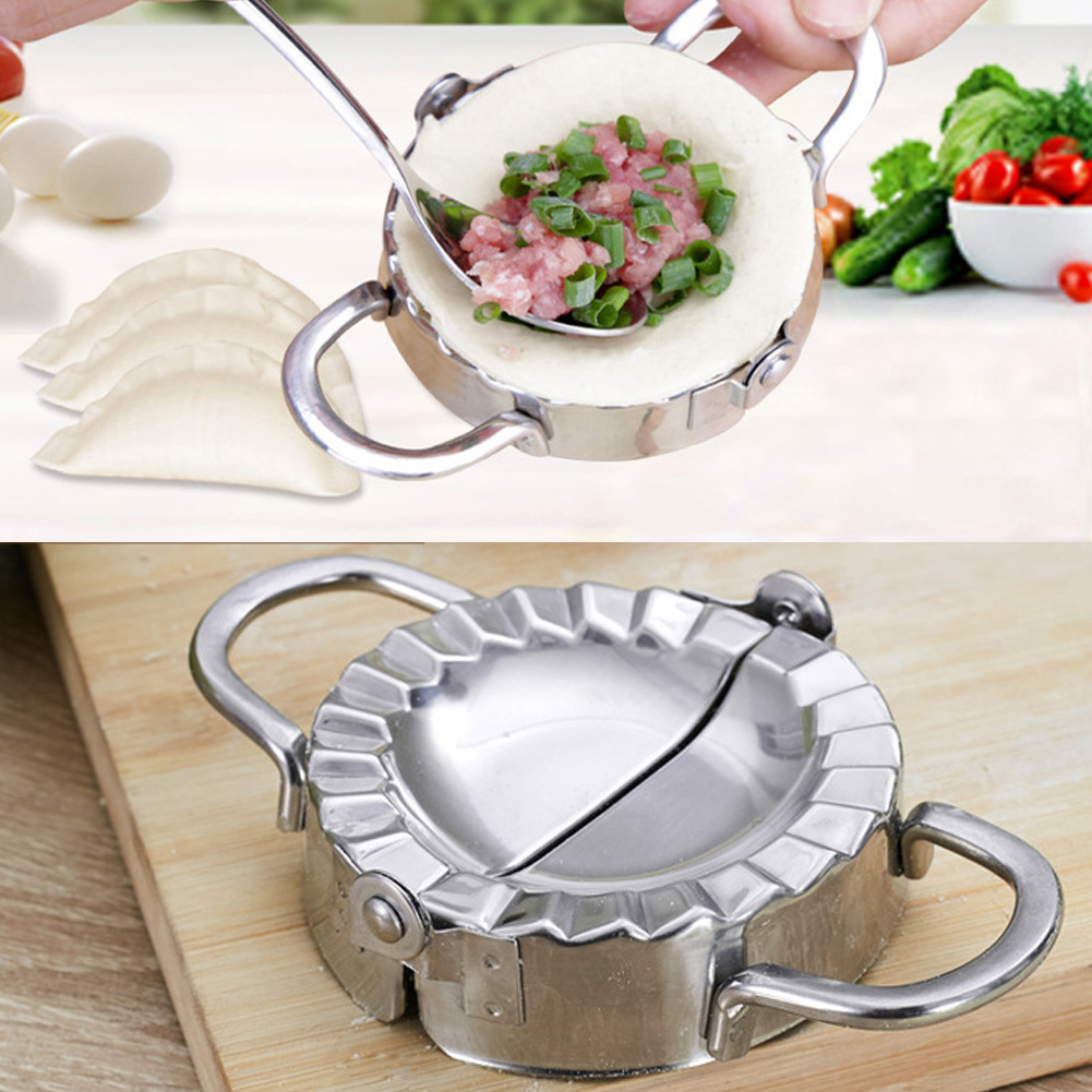 Dumpling Mould Stainless Steel Dumplings Mold Dough Pie Ravioli Kitchen Press Silver Dumplings Making Mold Kitchen Tools