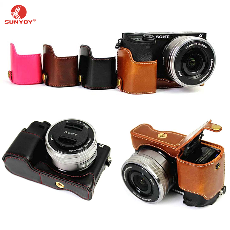 New!!PU Leather Half Bottom Camera Case, Bag (Bottom Opening Version)&Protective Cover for Sony Alpha a6300 ILCE - 6300, a6000