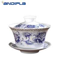 330ml Blue and White Porcelain Gaiwan Teaware Kung Fu Tea Set Teapot Tureen  Tea Bowl Teacup Cup and Saucer Master Cups Tea maker