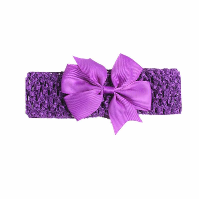 2019 ทารกแรกเกิดเด็กทารกเด็กทารกใหญ่โบว์ดอกไม้ Hairband Turban Knot Headband น่ารักโครเชต์ Headwear อุปกรณ์เสริม 13 สี