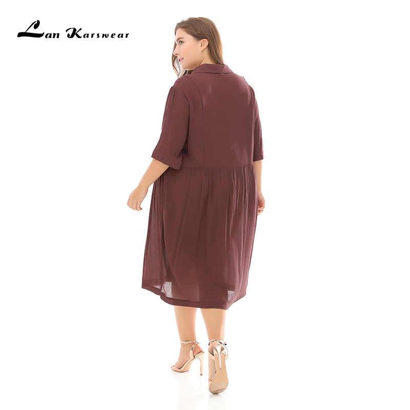 Lan Karswear 2019 Plus rozmiar lato kobiety sukienka pół rękaw ścięty stałe Casual plaża luźne sukienki szyfonowe ubrania duże rozmiary