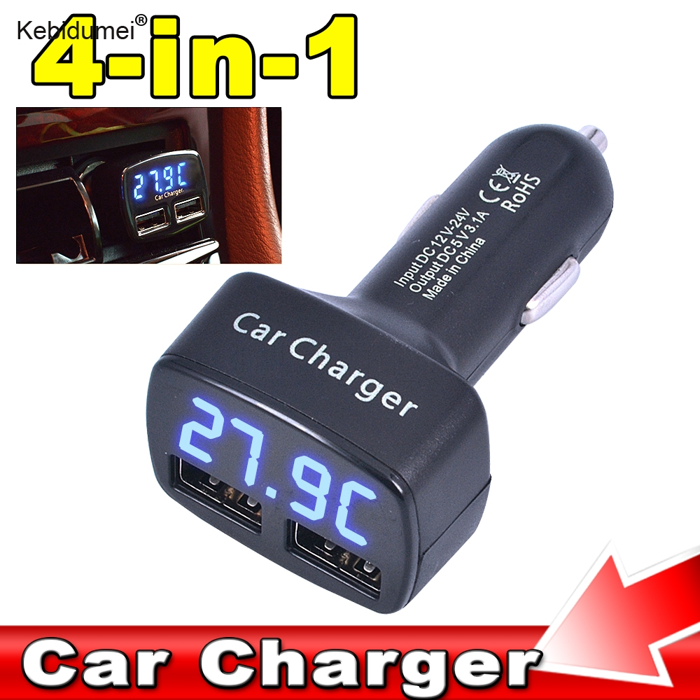 kebidumei Dual USB 4 In 1 DC 5 V 3.1A usb Car Charger Adapter