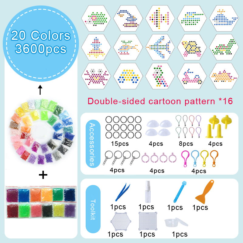 DOLLRYGA Bead Solid Bead Refill Pack Water Sticky Water Beads Pegboard Set Kids Puzzle Toy For Children 36Colors 11000PCS