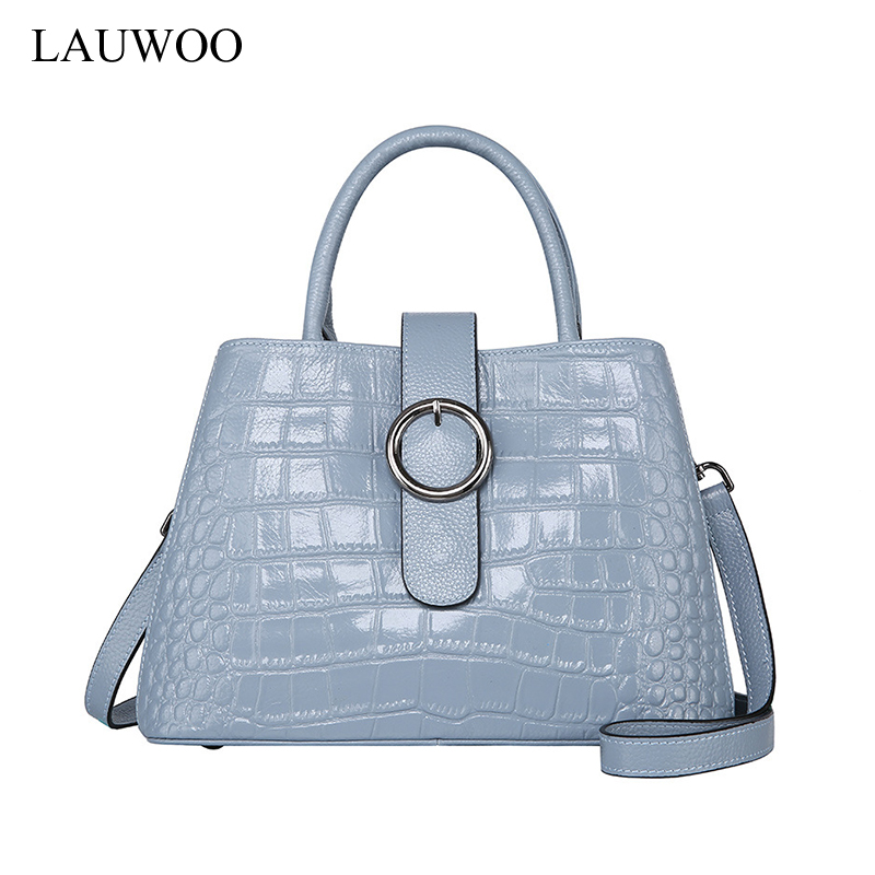 LAUWOO Women crocodile Embossed cow Leather Handbag Female Leisure Casual Lady Crossbody Shoulder Bag Messenger Top-handle Bags new women handbag one shoulder bag 2016 spring female simple leisure crossbody handbag korean style middle aged lady tide bags