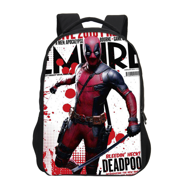 Fashion Customize Marvel Supper Hero Cartoon Deadpool 2 Printed Student Backpacks Boys School Bookbag Daily Laptop